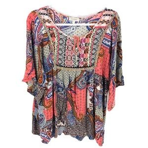 Bohemian Boho Kimono Sleeve Tunic Shirt Top